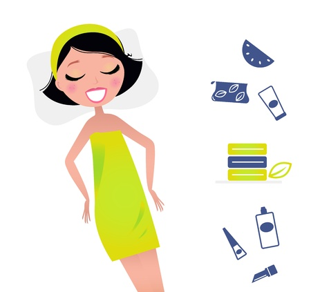 Cute relaxing beauty woman and spa items. Vector Illsutration in retro style. Stock Vector - 10971261