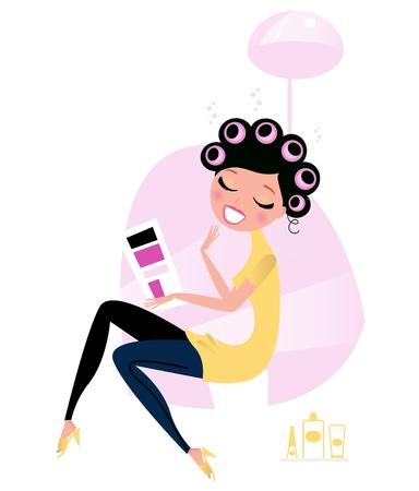 Linda hembra hermosa sentado en Peluquería y revista de lectura. Ilustración animada de vector.