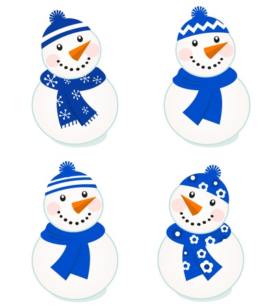 Vector cute christmas snowman - blue collection. Illustration