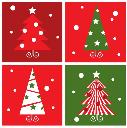 Christmas Trees design blocks icons. Vector illustration in retro style. Vector