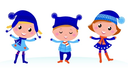 warm clothes: Collection of cute winter children. Vector cartoon Illustration.