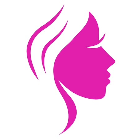 Beautiful pink simple woman face - vector Illustration
