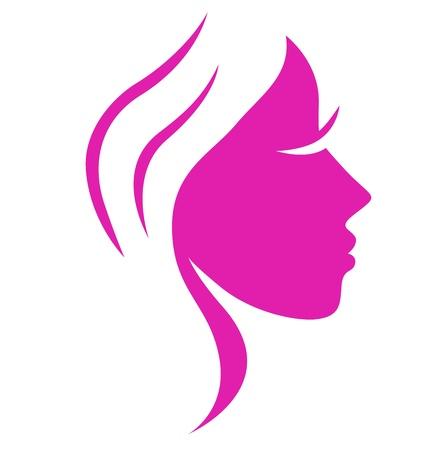 mujer: Bello Rosa cara de mujer sencilla, ilustraci�n de vectores