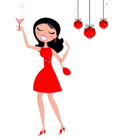 christmas drink: Cute Woman holding Glass of Martini or Cocktail. Vector retro illustration.