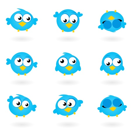 cute clipart: Blue funny Twitter Birds collection. Vector icons