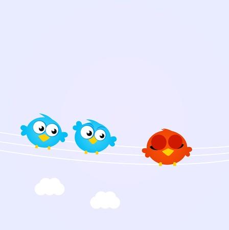 duif tekening: Diversiteit - rode vogel staat weg blauwe vogels. Vector illustratie.