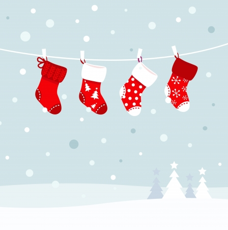 Cute christmas stockings, winter snow in background. Vector Illustration