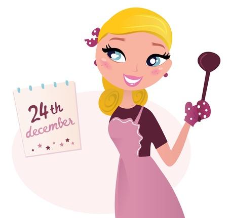 chef caricatura: Chef de cocina rubia mujer en Navidad. Ilustración vectorial de estilo retro.