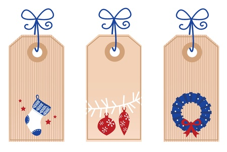 Stylized Christmas Tags. Vector retro Illustration. Vector