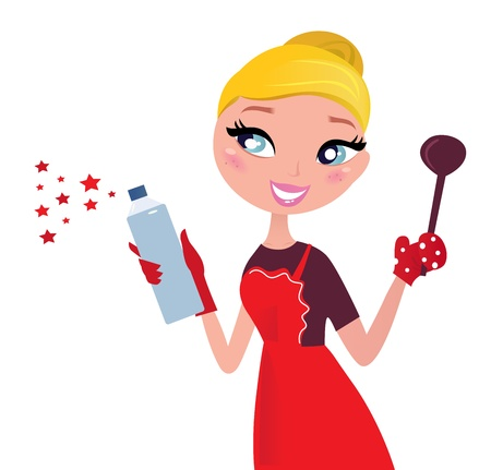 Beautiful blond Woman in red apron cleaning and cooking for Christmas. Vector Illustration