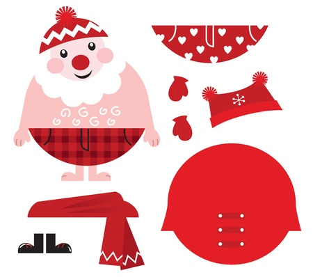 Cute happy Santa, christmas costume parts. Vector  Vector