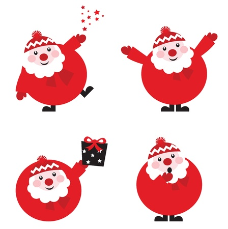 Vector illustration of cute cartoon Santa Claus set in various poses, retro style. Vector