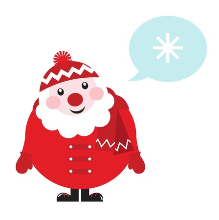 clause: Cute vector cartoon Santa thinking. Illustration in retro style.