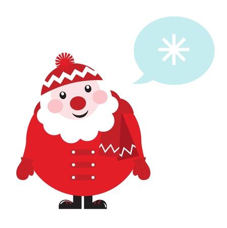 weihnachtsmann lustig: Nette Karikatur Sankt Vektor Denken. Illustration im Retro-Stil.
