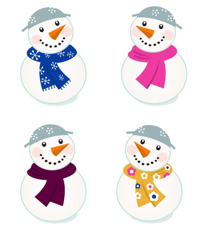 snowman isolated: Colorful vector snowman icons - vector illustration