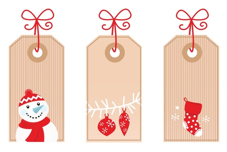 Cute Retro Christmas blank labels. Vector Illustration.
