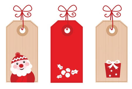 Cute stylized Retro Christmas sale labels. Vector Illustration.