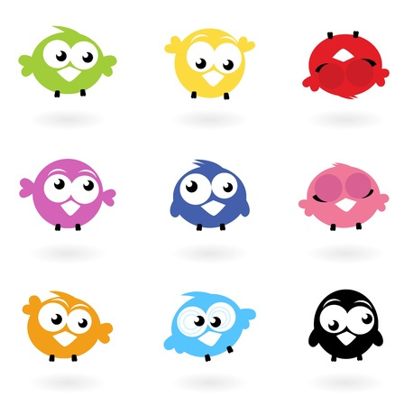 Colorful funny Twitter Birds collection. Vector icons