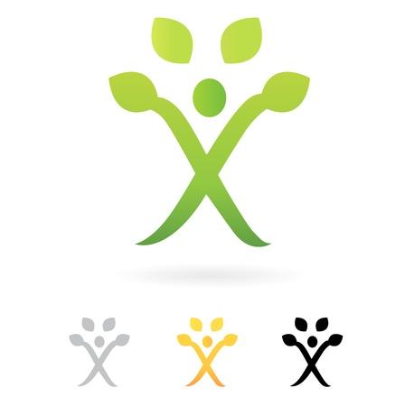 grow: Growth symbol, Human Tree, vector design element.