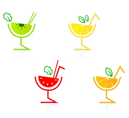 Fruit drinks for your party - kiwi, lemon, strawberry & orange. Vector Vector