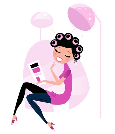 Lady relaxing & reading magazine in Hair Salon  Vector