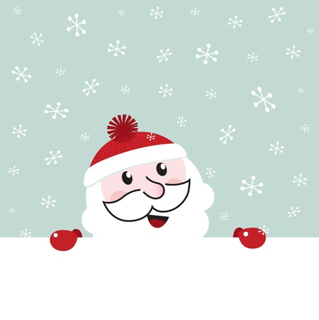 Happy Santa behind blank christmas banner. Vector cartoon Vector