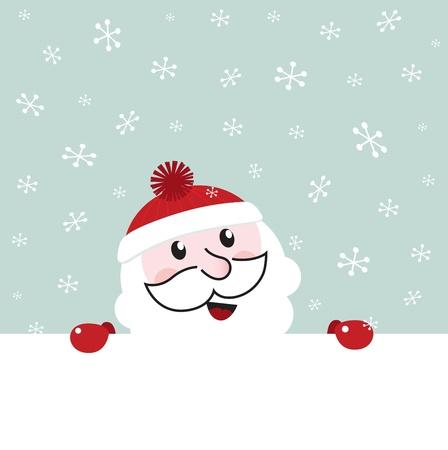 Happy Santa behind blank christmas banner. Vector cartoon Vector