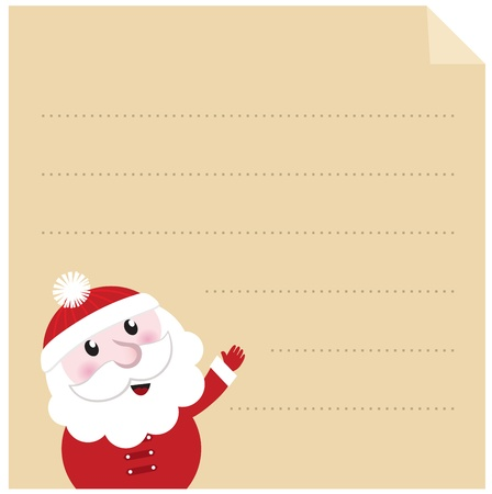 dear: Santa letter: happy Santa in retro style. Vector Illustration.