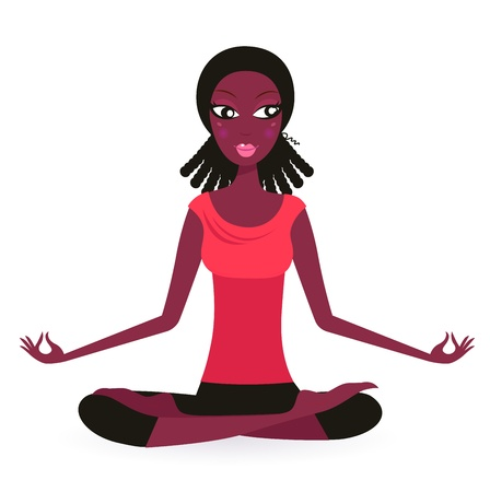 Cute Afro woman practicing Yoga Vector