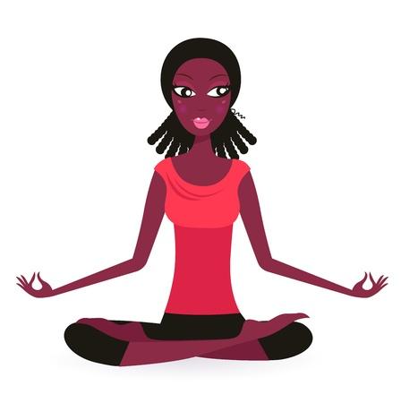 mujer meditando: Linda mujer afro practicar Yoga Vectores