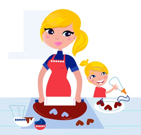 Happy blond hair Mother with Daughter baking together Vector