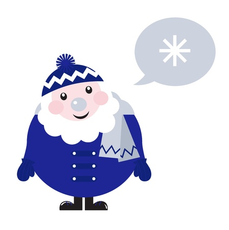 Blue Santa thinking about Snowflake cartoon Vector