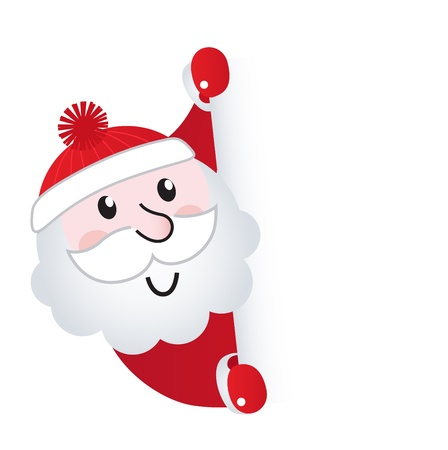 happy new year banner: Cute retro Santa holding blank sign  Illustration.