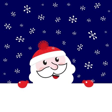 Cute Santa behind white blank banner cartoon Vector