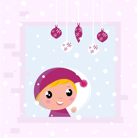Little blond Child looking on snowing Vector
