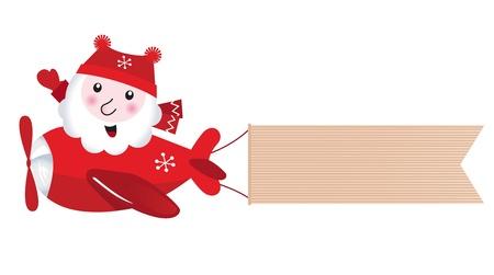 Cute retro Santa traveling in xmas airplane Vector