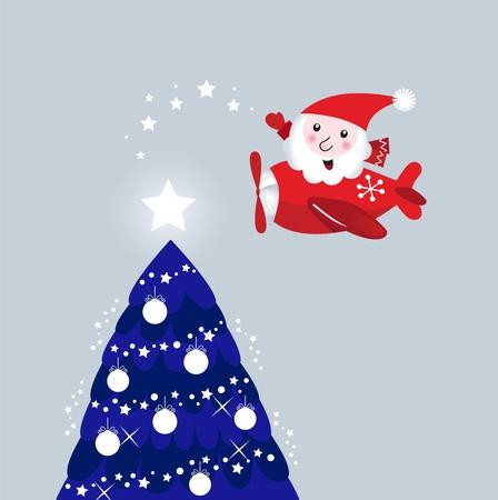 Cute Santa giving christmas stars on tree. Vector