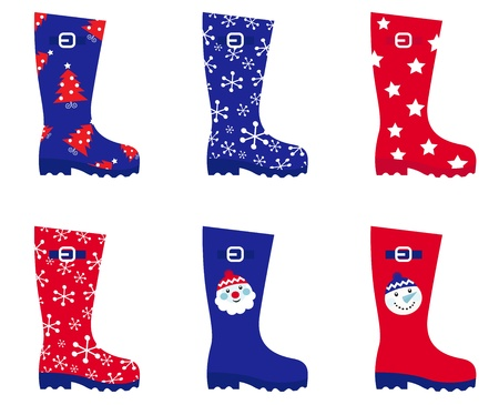 Cute series of Christmas gumboots fashion accesories set. Vector