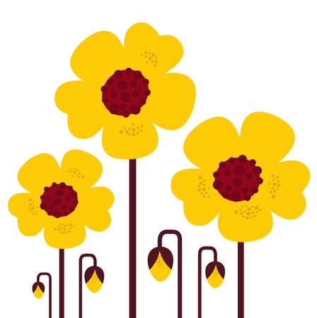 Retro yellow flowers  Vector