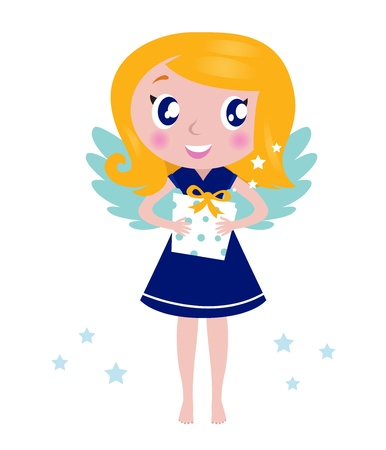 Little cute blond angel child. Vector Illustration. Vector
