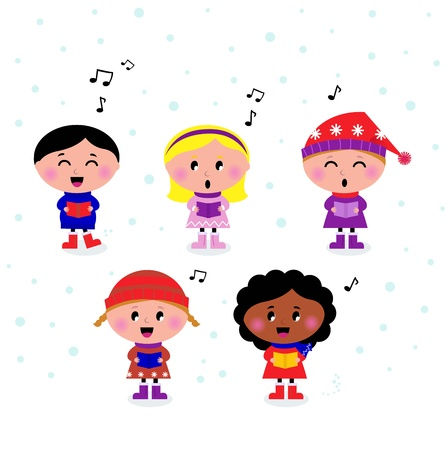 Little multicultural Kids singing Christmas Carol.  Vector