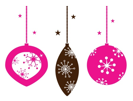 Christmas balls with stylized retro ornaments. Vector
