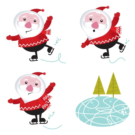 Cute series of ice skating Santas.  Vector