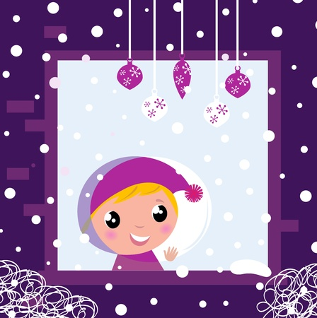 Little blond Boy looking on snowing.Cartoon Illustration. Vector