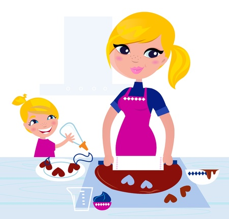 bake: Happy blond hair Mother with Daughter baking together.  Illustration