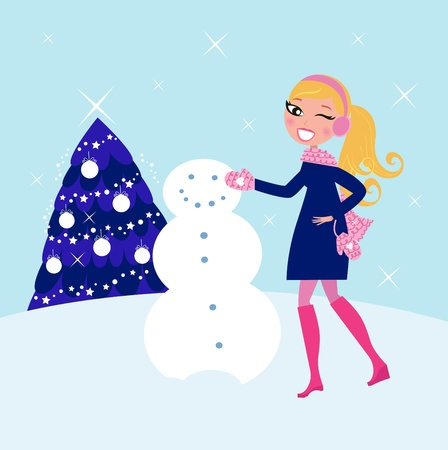 Cute blond woman building snowman in mountains.  Vector