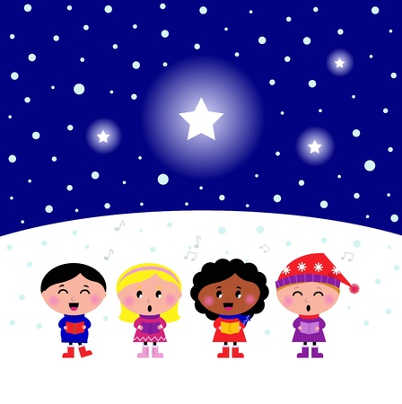 caroler: Kids singing Silent Night Christmas melody.