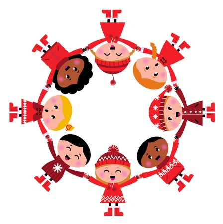 Happy smiling winter kids in circle.Cartoon Illustration. Vector