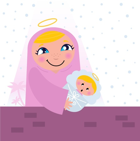 Nativity Bethlehem scene: Virgin Mary and Baby Jesus.  Vector