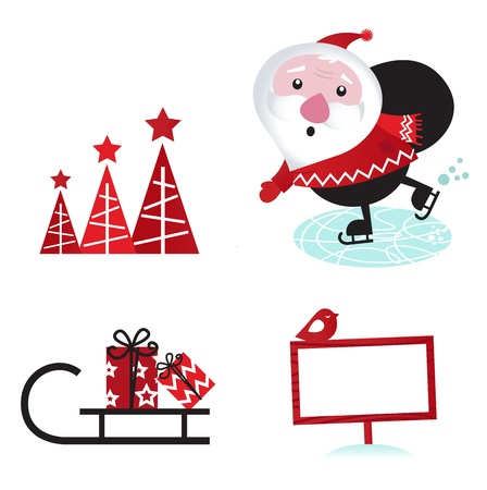 skater: Cute retro Santa with christmas elements.  Illustration